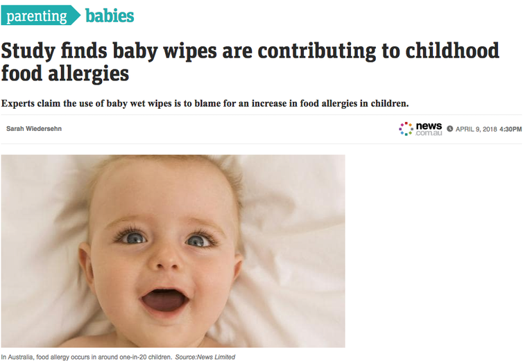 can baby wipes cause childhood food allergies?