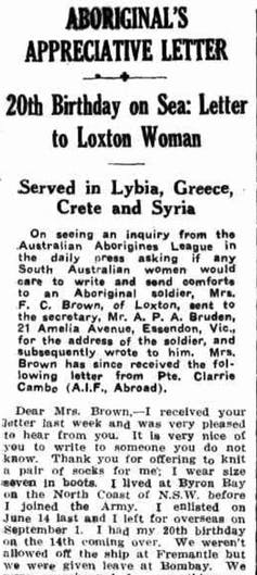 Clarrie Combo, Mrs Brown and Aboriginal soldiers in WW2