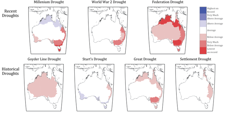 Australia Map Vegetation 200 Years Ago.Recent Australian Droughts May Be The Worst In 800 Years