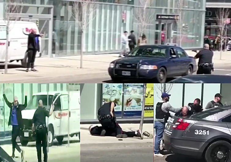 Clips from YouTube videos shot by people who witnessed the takedown of the  man accused of killing 10 people in Toronto by driving onto busy sidewalks  show a ...