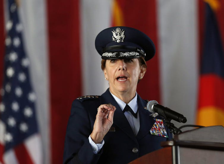 Lori J. Robinson, the first woman to lead a top-tier U.S. military command, is seen in this May 2016 photo in Colorado. (AP Photo/Brennan Linsley)