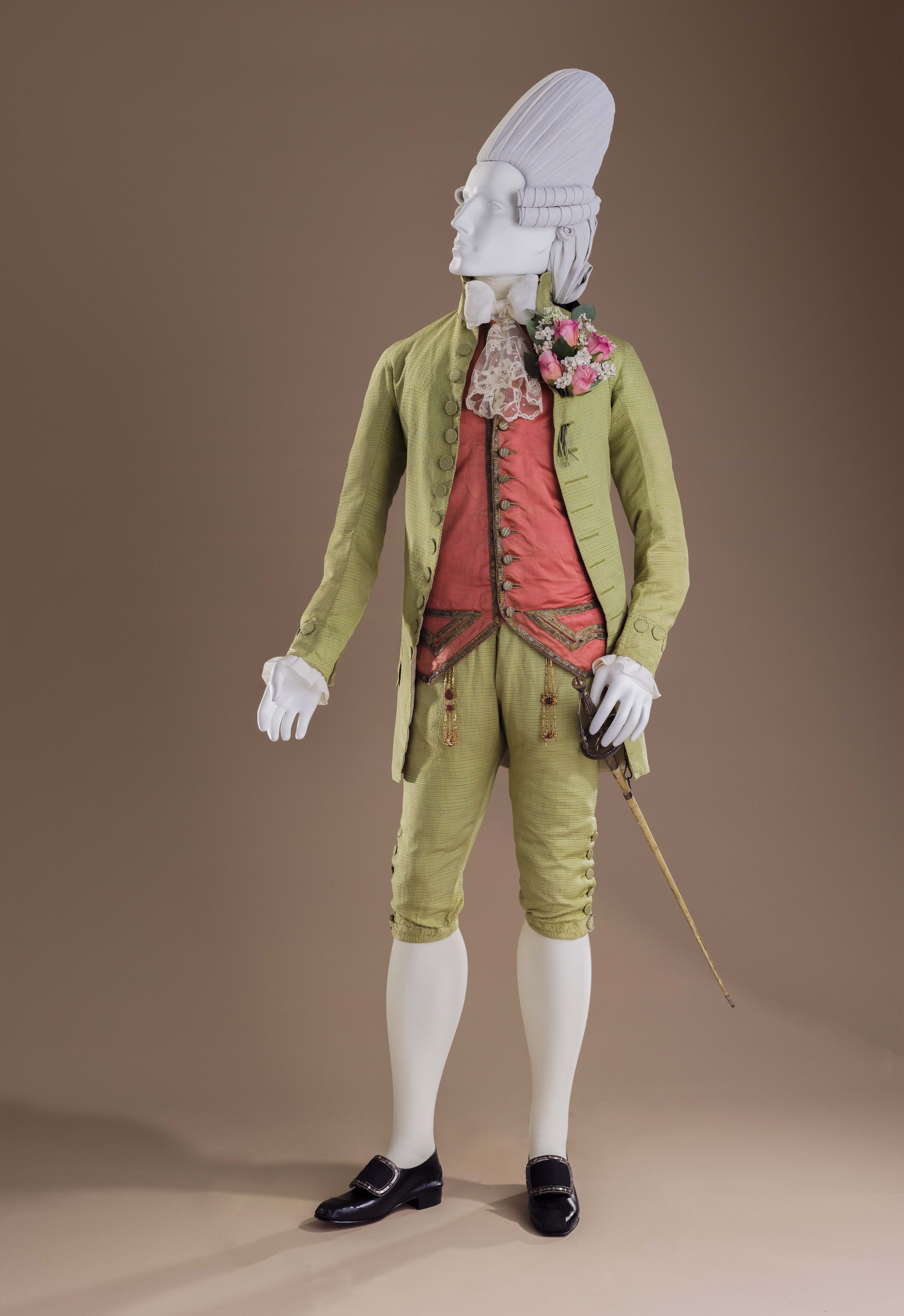 An ensemble typical of a 'macaroni', including suit (Venice, circa 1770), waistcoat (Venice, circa 1770), and sword (France, late-18th century). Photo credit: © Museum associates/LACMA