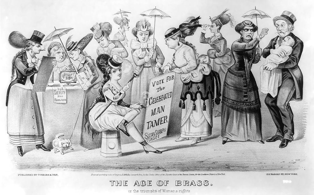 'The Age of Brass or the Triumph of Women's Rights', a lithograph from 1869 caricaturing the possible consequences of giving women the right to vote. Credit: Currier and Ives/Wikimedia