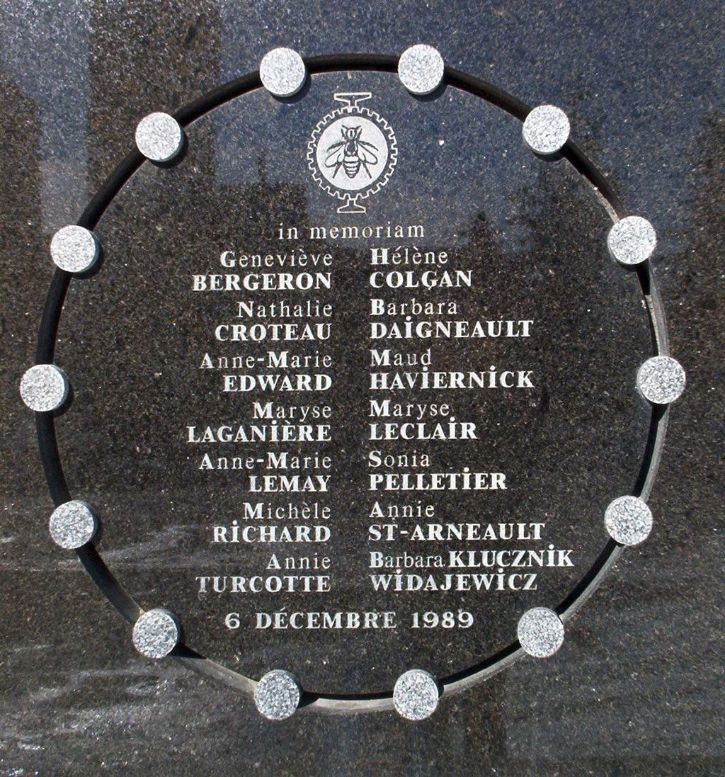 Commemorations for the 14 victims (all female) of the slaughter at the Montréal Polytechnique (1989). The man responsible for the massacre, Marc Lépine, stated, 'You're women, you're about to become engineers. You're nothing but a bunch of feminists. I hate feminists.' Credit: Bobanny/Wikimedia