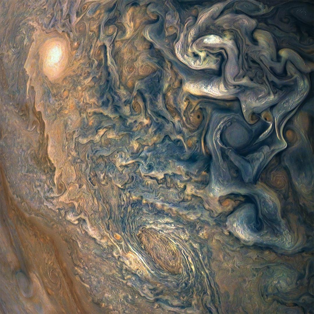 Jupiter is turbulent above and below. NASA/JPL-Caltech/SwRI/MSSS/Gerald Eichstadt/Sean Doran