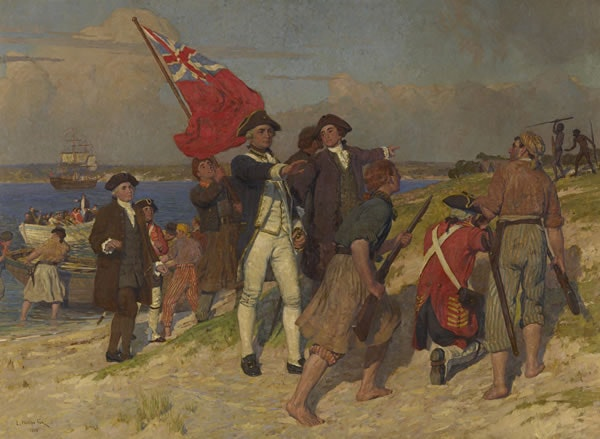 Landing of Captain Cook at Botany Bay, 1770, by Emanuel Phillips Fox, 1902. Credit: Wikimedia [Licensed under PD Australia]
