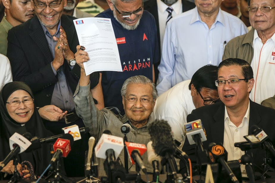 malaysias incoming prime minister mahathir mohamad waves a letter to the king epaahmad yusni
