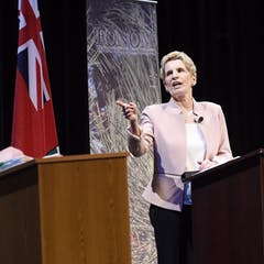 ... Ontario Liberal Leader Kathleen Wynne and Ontario NDP Leader Andrea  Horwath take part in the second of three leaders' debates in Parry Sound,  ...