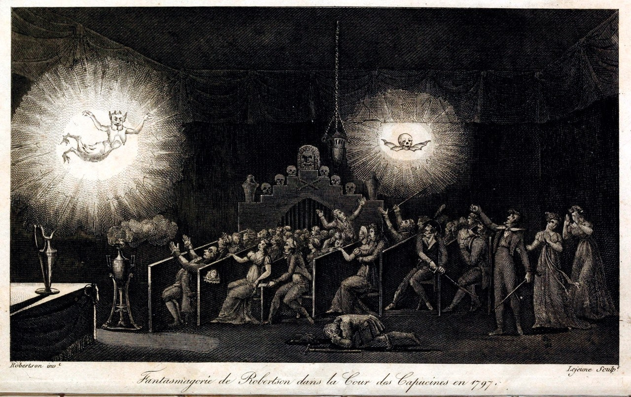 Engraving depicting one of Robertson's phantasmagorical shows and the effects they had on audiences. Memories by Etienne Gaspard Robertson