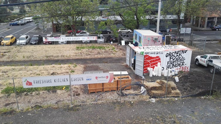 FareShare transforms vacant sites into community kitchen gardens like this one created in Abbotsford, Melbourne, with 3000 Acres' help. Ferne Edwards, Author provided