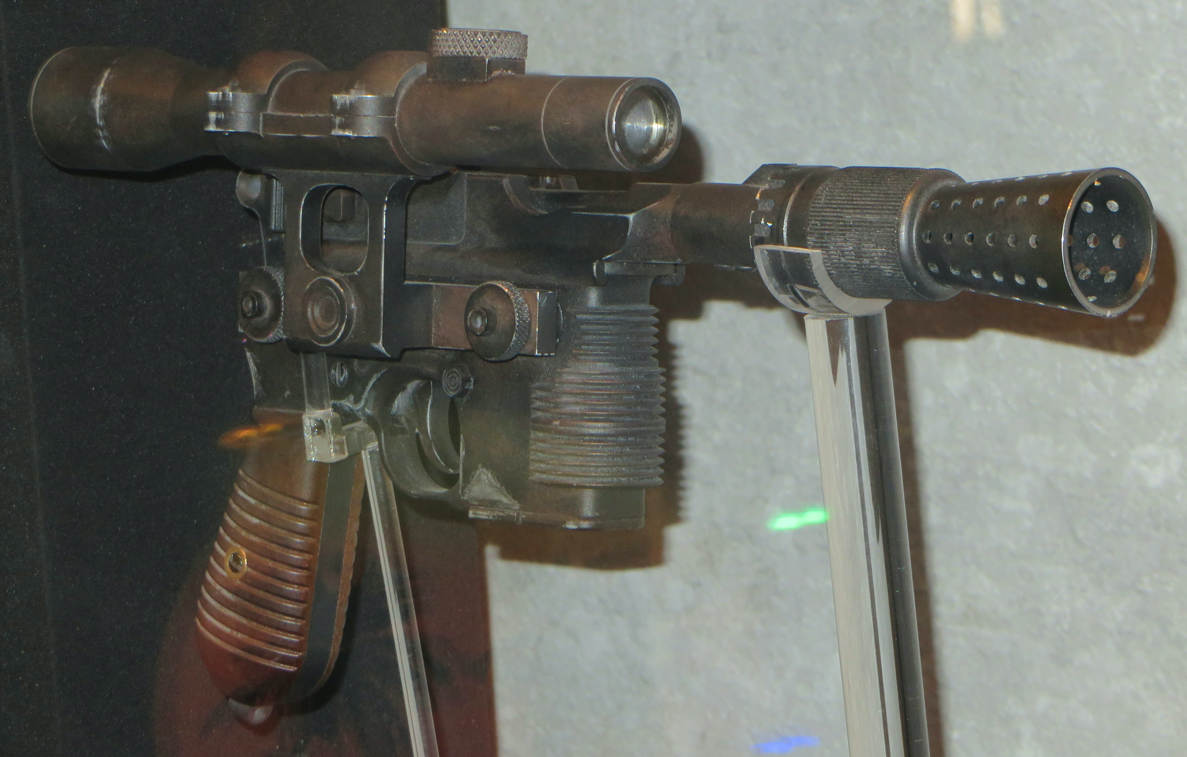 Han Solo's BlasTech DL-44 heavy blaster pistol on display at Star Wars Launch Bay at Disney's Hollywood Studios.