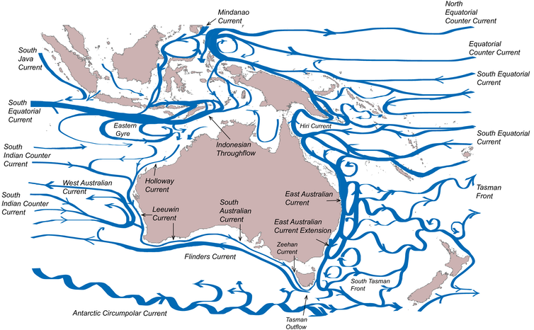 the movement of ocean waters around Australia