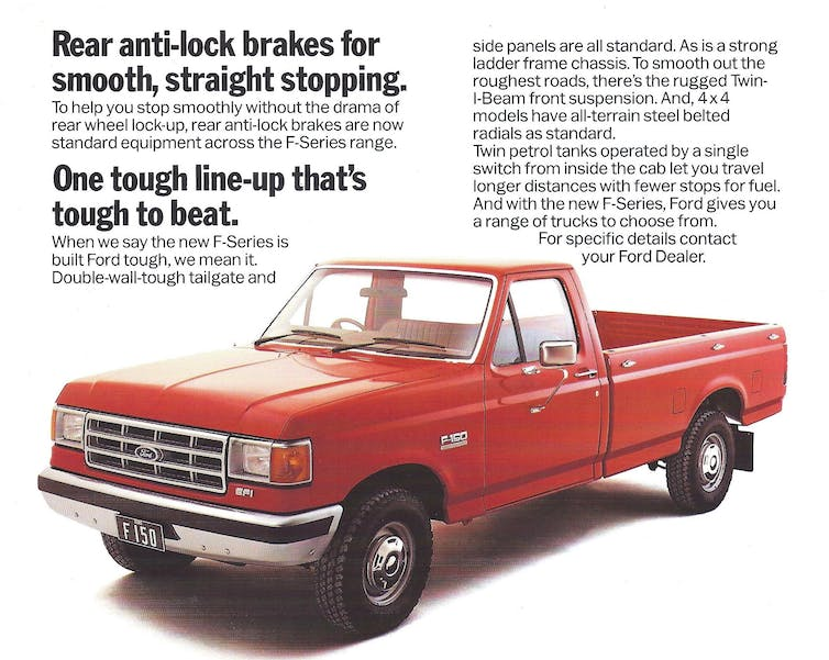 A 1987 print ad for the F-150 highlights the truck's new anti-lock brakes. JOHN LLOYD, CC BY