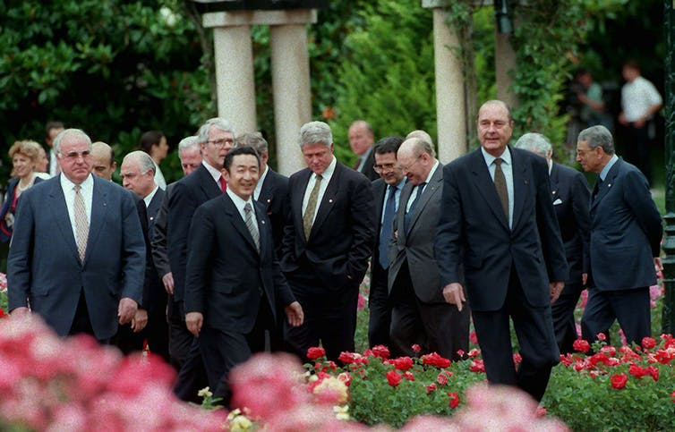 Until very recently, the U.S. was a leader in free trade, such as in 1996, when G-7 leaders including former President Bill Clinton met a little more than year after establishing the World Trade Organization
