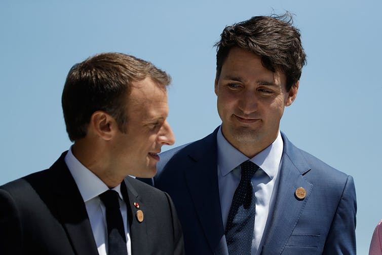 France's Emmanuel Macron and Canada's Justin Trudeau.