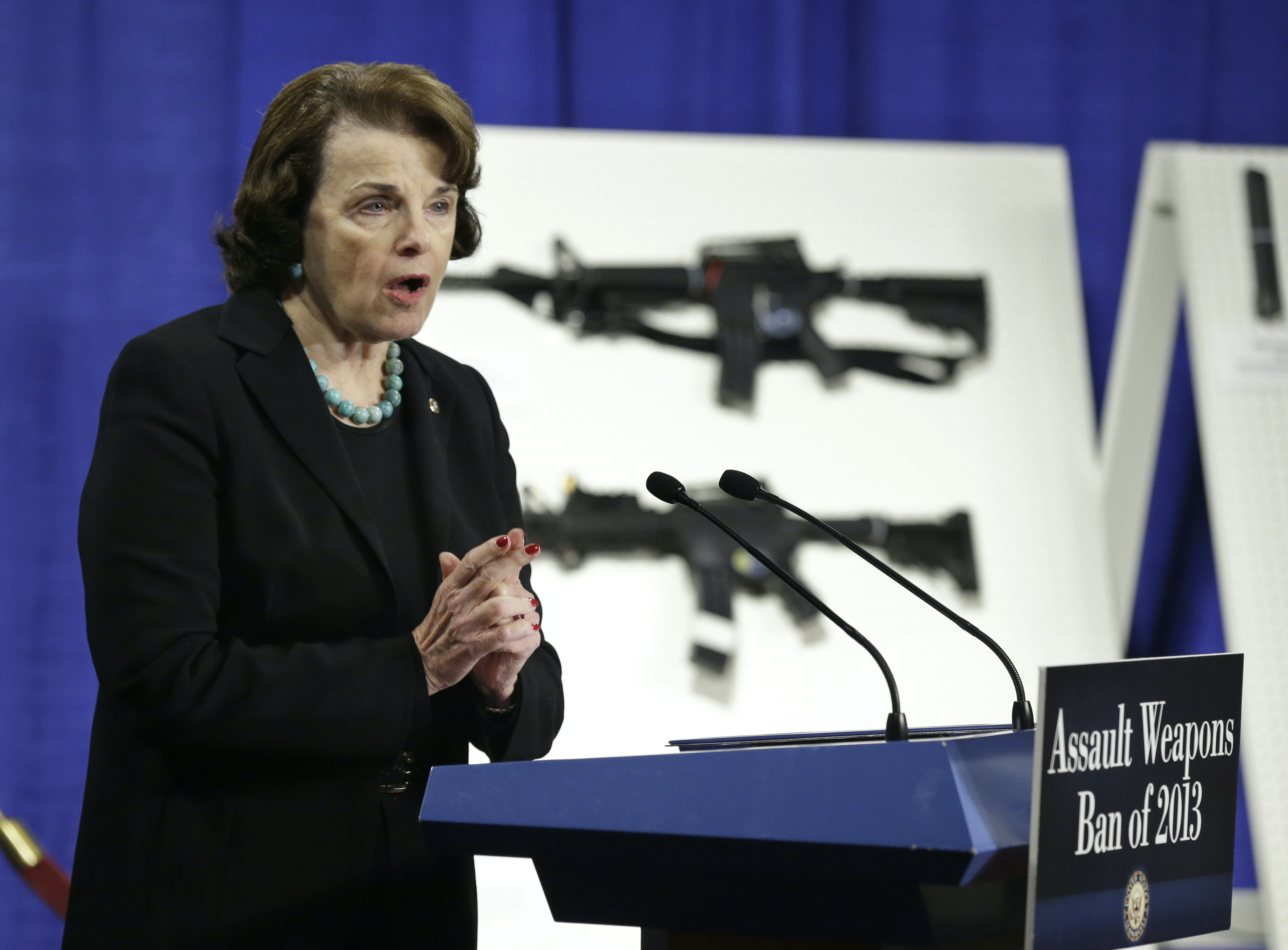 Sen. Dianne Feinstein, D-Calif., speaks during a news conference in 2013 to introduce legislation on assault weapons and high-capacity ammunition feeding devices. AP/Manuel Balce Ceneta