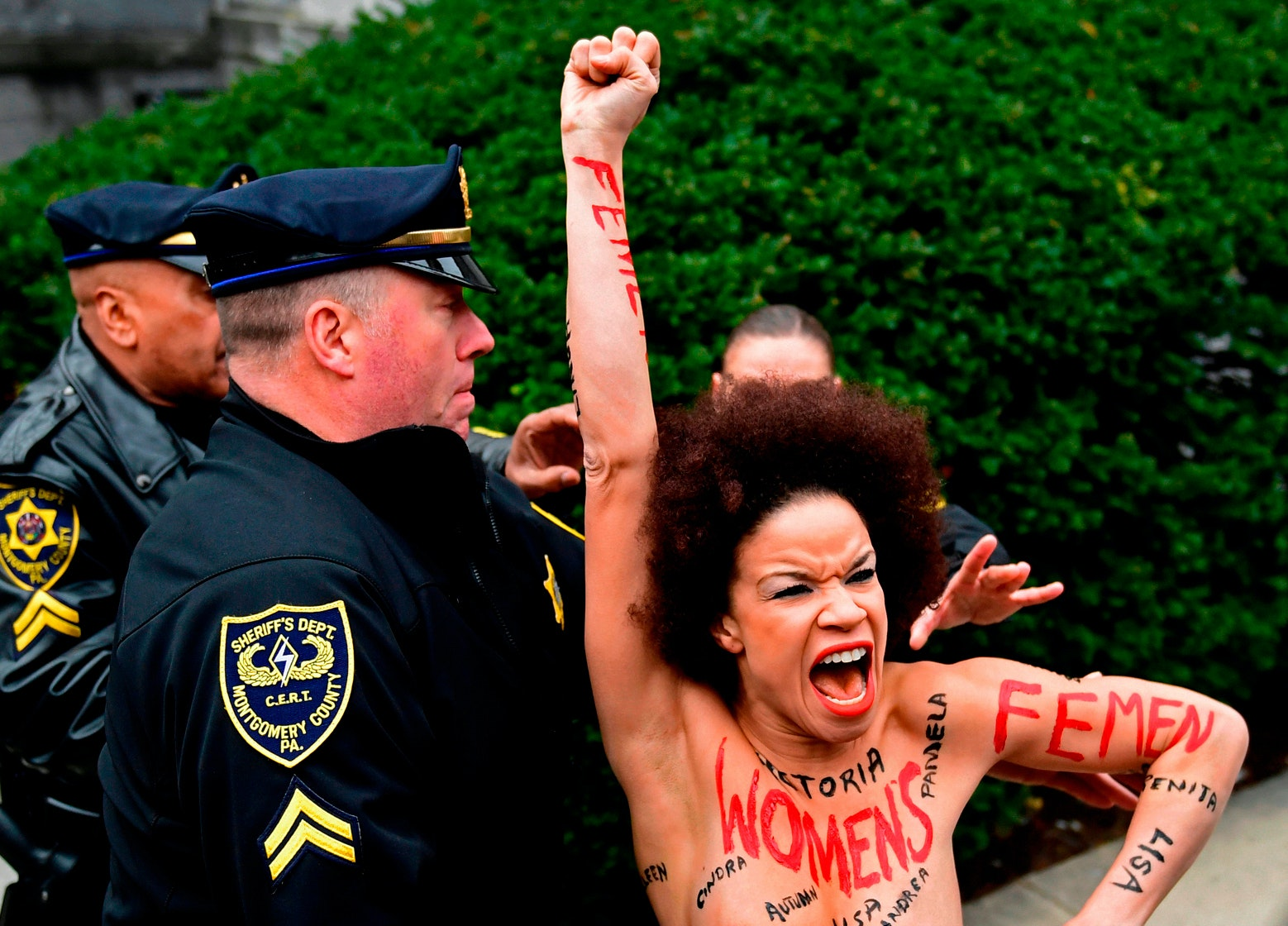 White wife harassed black public nude
