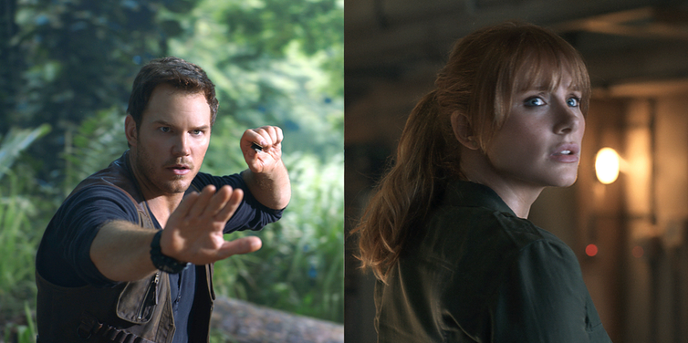 """Jurassic World: Fallen Kingdom"" - Owen (Chris Pratt, left) and Claire (Bryce Dallas Howard, right) are back."