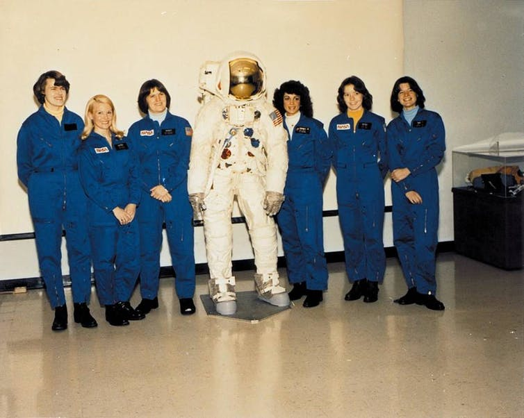 In January 1978, NASA selected six women into the class of 35 new astronauts to fly on the Space Shuttle.