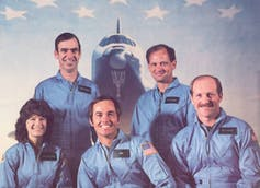 Sally's first ride, with her STS-7 crewmates. In addition to launching America's first female astronaut, it was also the first mission with a five-member crew.