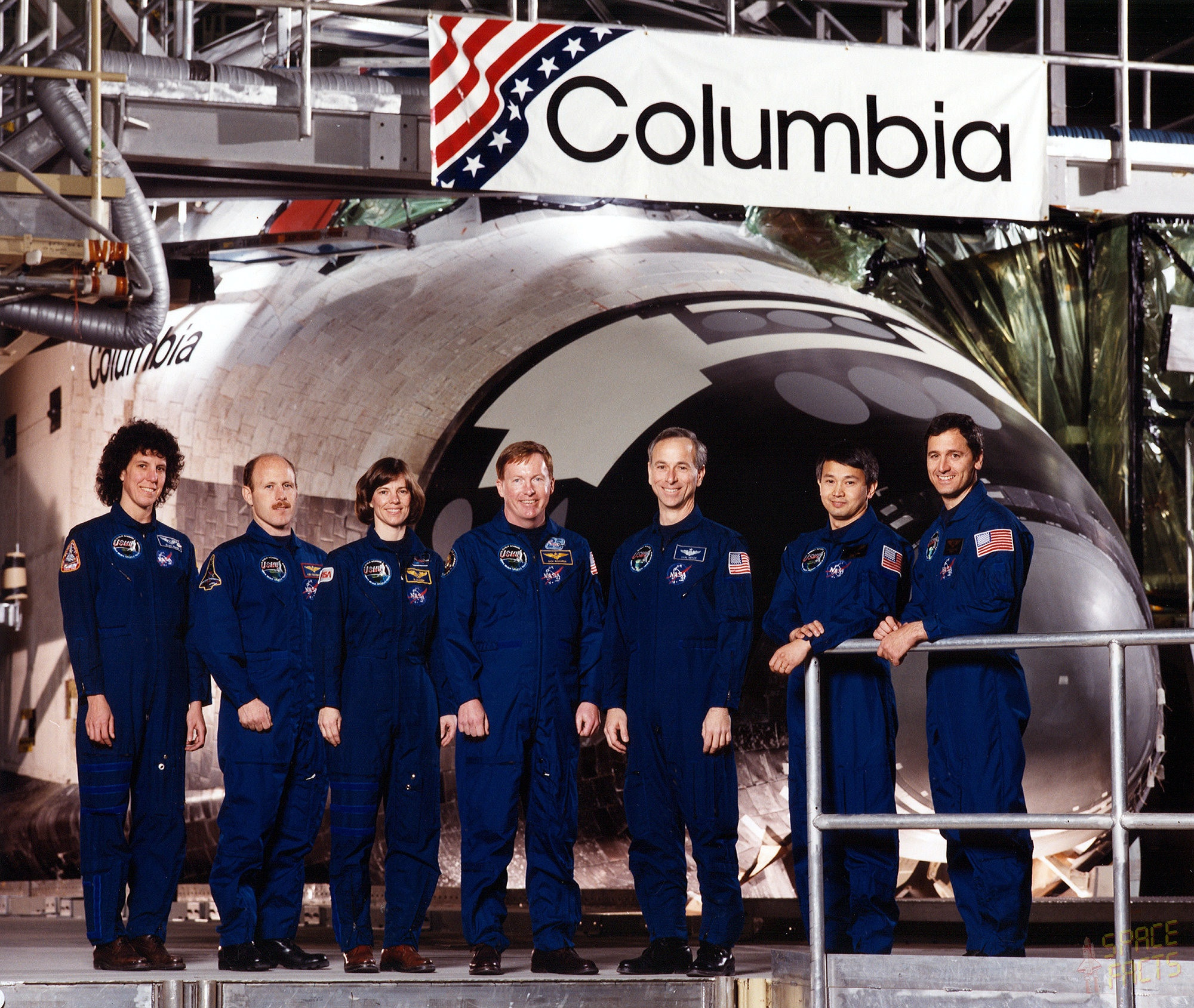 STS-50 Crew photo with commander Richard N. Richards and pilot Kenneth D. Bowersox, mission specialists Bonnie J. Dunbar, Ellen S. Baker and Carl J. Meade, and payload specialists Lawrence J. DeLucas and Eugene H. Trinh