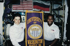 Mike Anderson and Bonnie Dunbar flew together on STS-89 in 1998. They both graduated from University of Washington. Anderson was killed in the Columbia accident, in 2003.