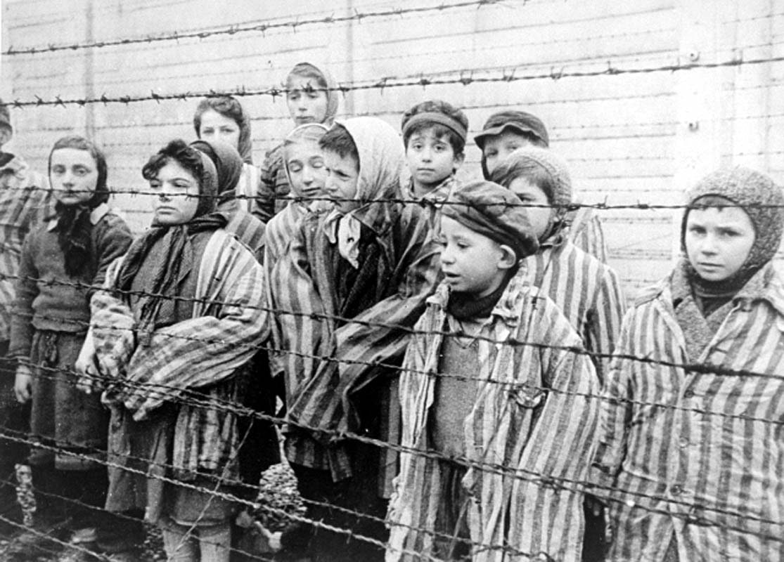 Child survivors of Auschwitz are seen in this 1945 photograph.