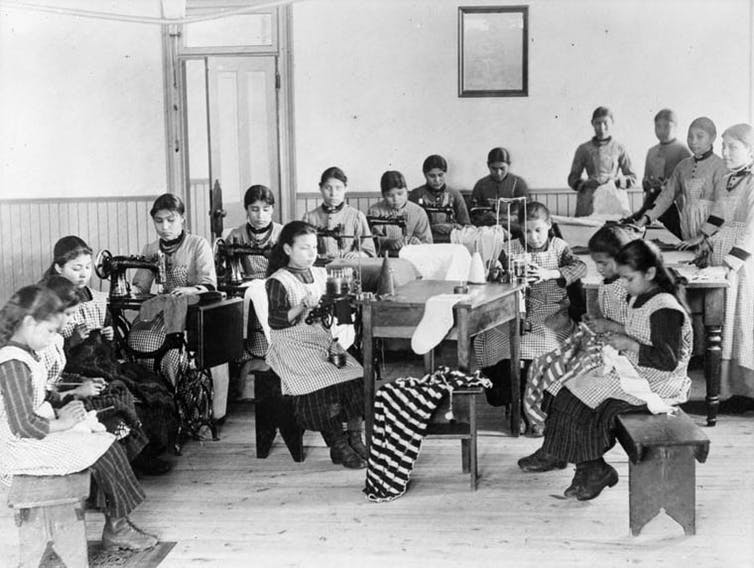 Children at a residential school in Fort Resolution, Northwest Territories, are seen in this undated photo.