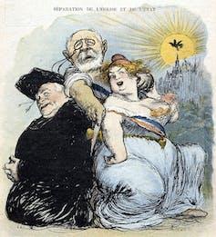 Caricatura del periódico satírico francésLe Rireburlándose de la ley 'quirúrgica' de 1905 que separaba las iglesias del Estado.Charles Léandre /Wikimedia