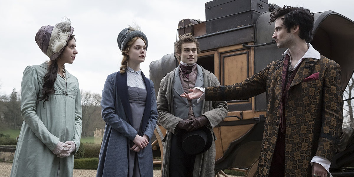 Claire Clairmont (Bel Powley), Mary Shelley, Percy Shelley (Douglas Booth), and Lord Byron (Tom Sturridge)