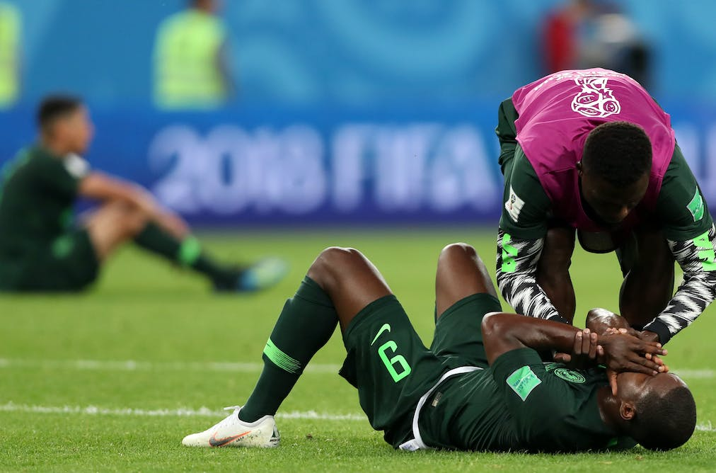 e8254dff103 Nigeria's players react after the loss to Argentina in the 2018 world cup.  EPA-EFE/Tolga Bozoglu