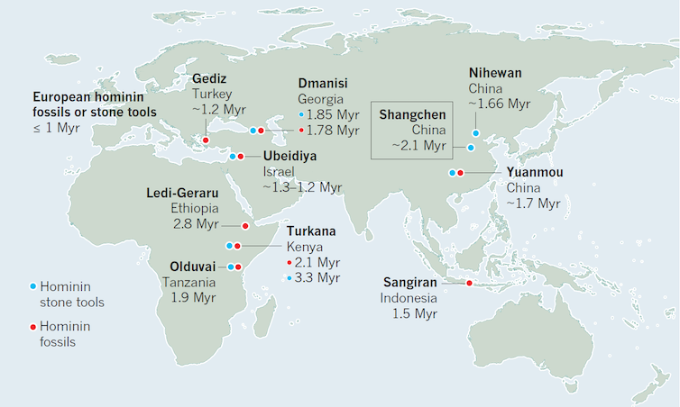 Humankind's odyssey from Africa began more than two million years ago