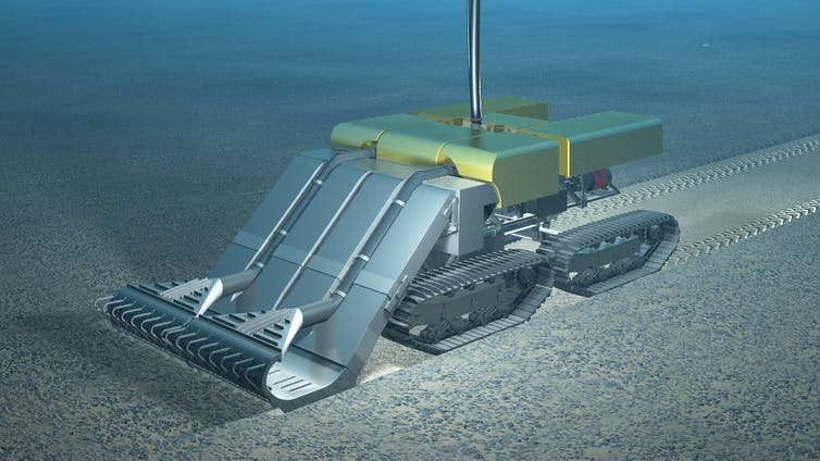 A subsea crawler like this one designed by Royal IHC Mining would harvest polymetallic nodules from the sea floor. (Royal IHC)
