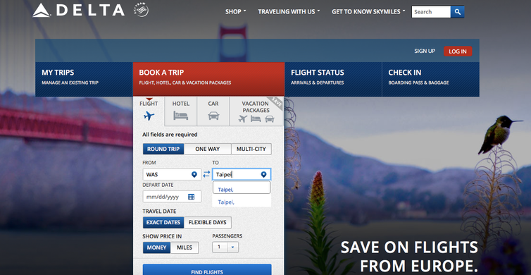 At time of writing, Delta's website offers flights to 'Taipei', but includes no country name as it does for other destinations such as 'London-Heathrow, United Kingdom' (see below example) – as this screenshot of its website shows. Author provided