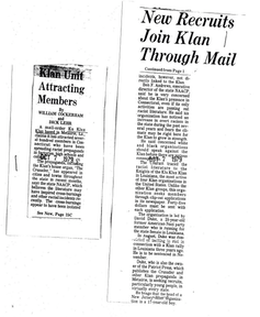 After The Hartford Courant published a story about Duke's recruitment drive, other media outlets started to explore the Klan's inroads into Connecticut. Hartford Courant, Author provided