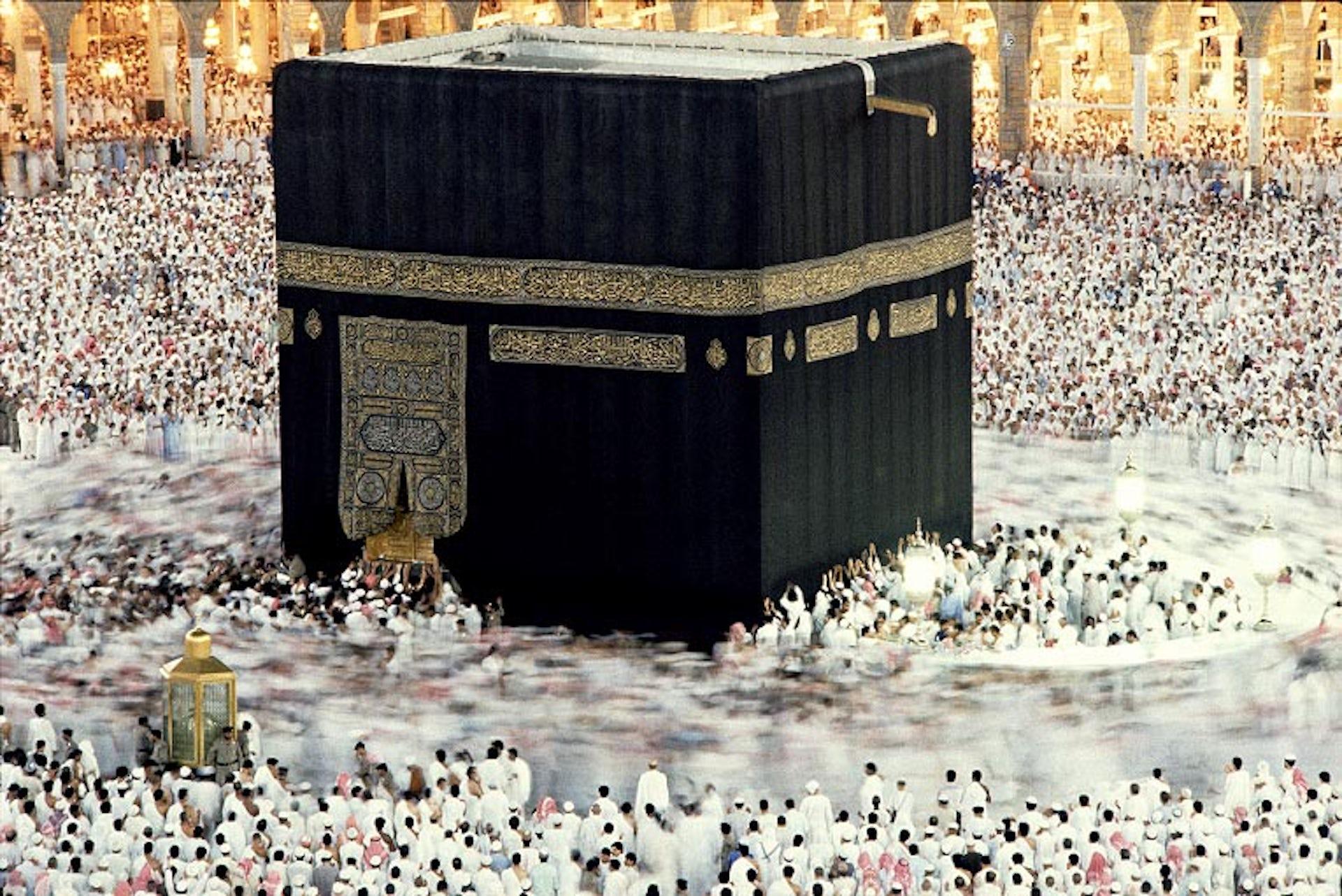 Pilgrims must circumambulate the Ka'ba anticlockwise seven times (tawaf). Peter