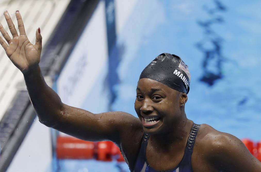 5fe9557485 United States' Simone Manuel who won the Olympic gold medal for the U.S. in  the 100-meter freestyle at the 2016 Summer Olympics in Rio, said she hopes  for a ...