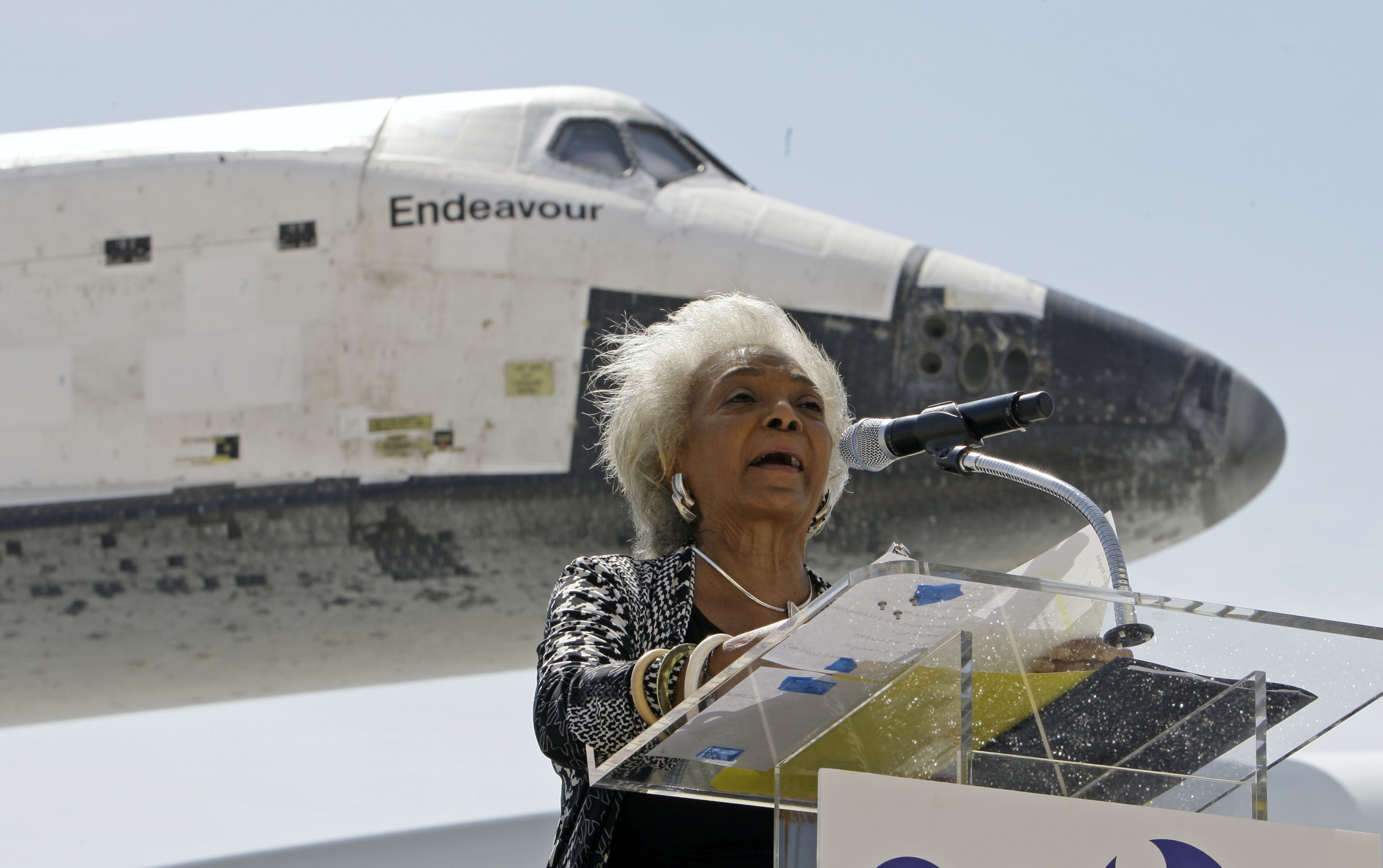 Nichelle Nichols speaks after the Space Shuttle Endeavour landed at Los Angeles International Airport Friday in September 2012