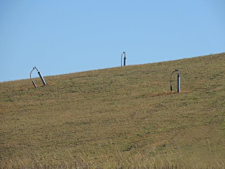 Methane vents at an old landfill site