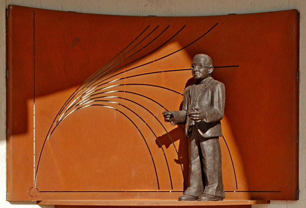 A monument in Belgium to Georges Lemaitre depicts his idea of an expanding universe. Photo credit: Wikimedia