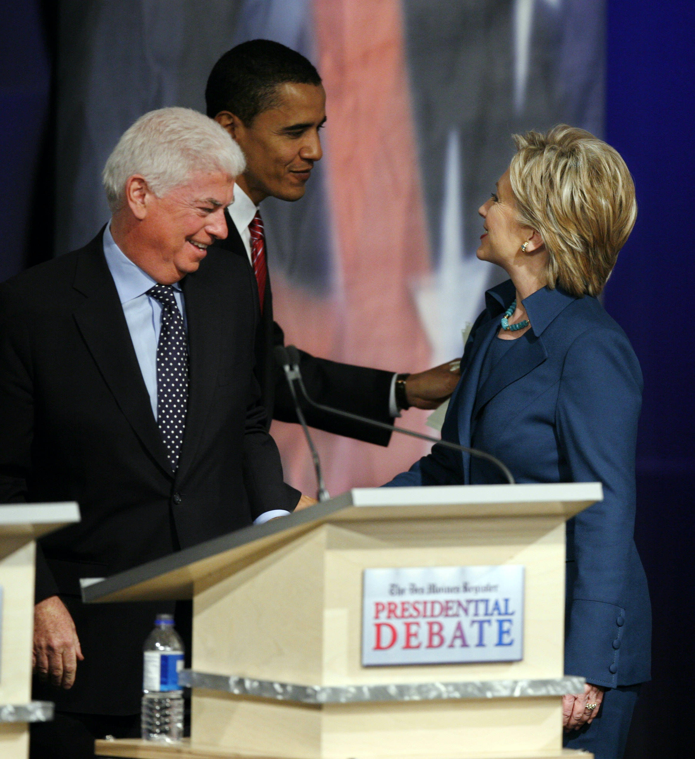 Hillary Clinton and Barack Obama at a Democratic presidential debate in Iowa in 2007. AP Photo/Charlie Neibergall