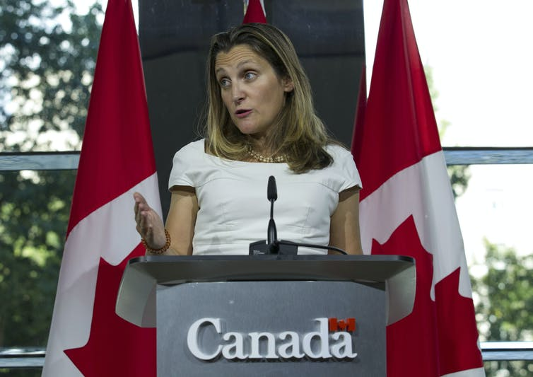 Canada's Foreign Affairs Minister Chrystia Freeland speaks during a news conference at the Canadian embassy after talks at the Office of the United States Trade Representative in Washington, D.C., on Aug. 31, 2018