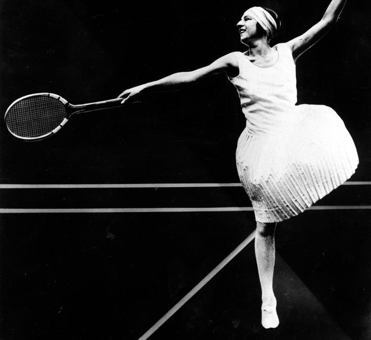 In A 1926 Photo French Tennis Player Suzanne Lenglen Wears Knee High Skirt
