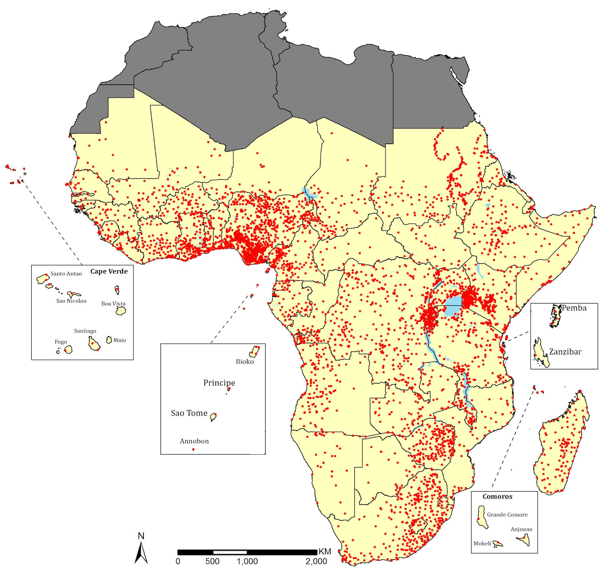 Mapa de hospitales públicos en África.Imagen: Cedida por el autor