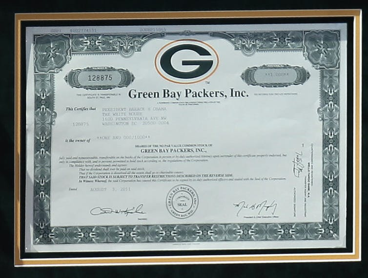 f7ac4e9a1 Green Bay Packers stock certificates are distributed to all shareholders