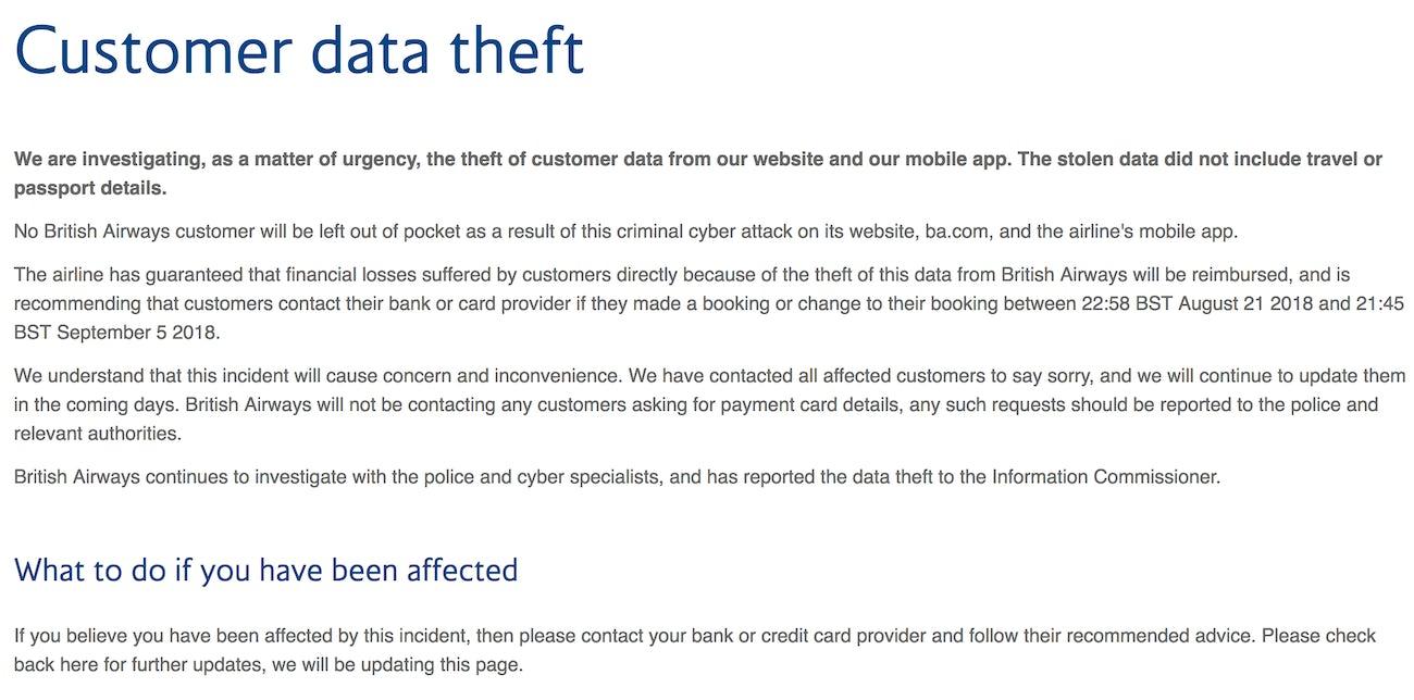 british airways cyberattack statement