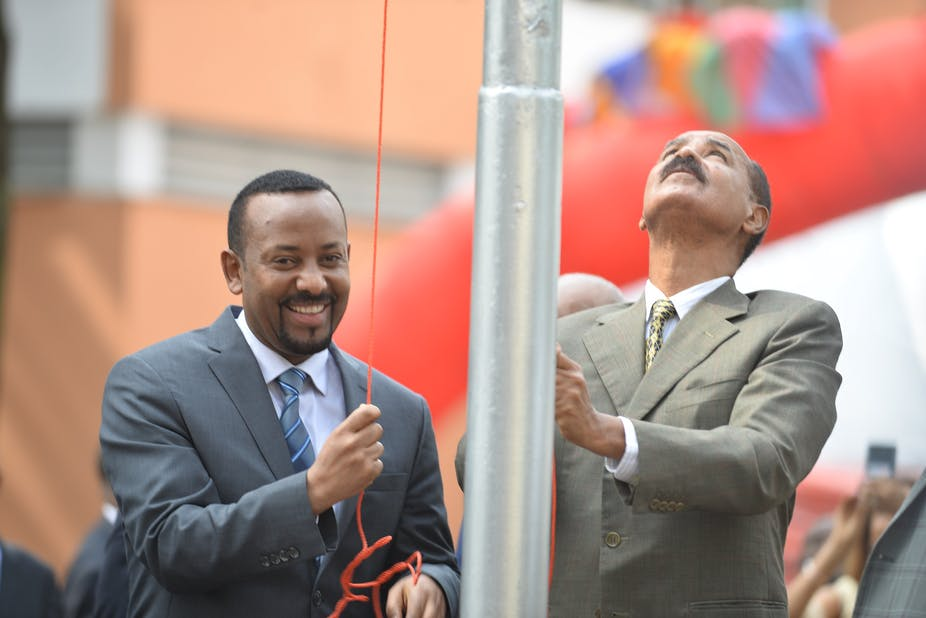 Image result for abiy ahmed smokes peace pipe with eritrea president