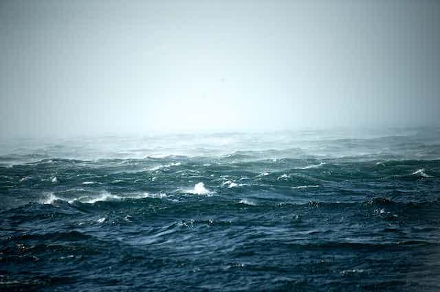 A stormy ocean scene.