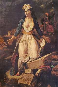 In 'Greece on the Ruins of Missolonghi,' Delacroix uses a pale female figure to symbolize Greece