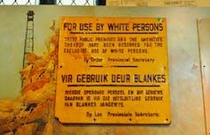 Sign erected during the apartheid era